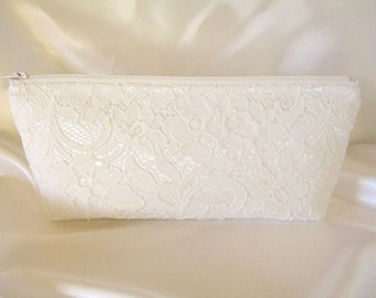 White Satin Clutch - White Lace Clutch - Brides Purse - Wedding Clutch - White Sequin Clutch - Bridesmaid Clutch - Bridal Clutch - Lace Bag