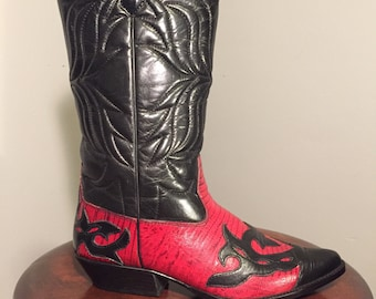 Vintage black and red western wingtip boots/7/7.5