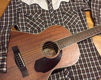 Vintage men's western shirt/Plaid/Kenny rogers/Karman/Size:15/Medium
