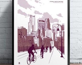 Minneapolis Stone Arch Bridge Screen Printed Poster