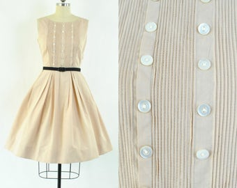 """Vintage 1950's day dress sz S """"Betty Barclay"""" / Vintage 50's cotton dress / biscotti beige pintuck bodice with pretty button detail"""