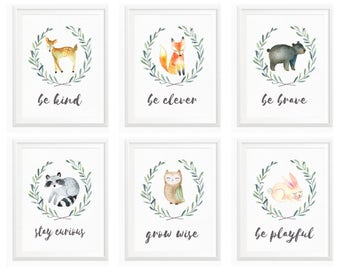 Woodland Nursery Prints // Be Brave Be Kind // Woodland Nursery // Baby Shower // Raccoon, Fox, Owl, Deer // Woodland Wall Art Watercolor