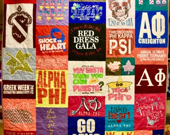 Keepsake custom made t-shirt quilt made to order using your t-shirts