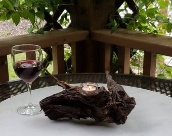 Wood Root Pine Candle Holder