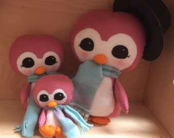 Hand Sewn Felt Plush Penguin Family
