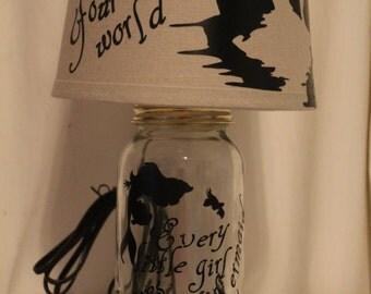 Little mermaid mason jar lamp