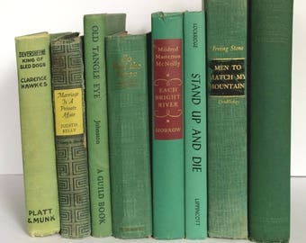 Decor Books, Green Books, Shabby Decor, Decorative Books, Instant Library, Book Bundle, Bookshelf Decor, Vintage Books, Country Chic