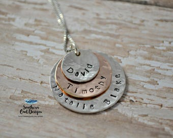 Hand stamped Layered Mother's necklace, mom necklace, sterling silver, rose gold, Grandmother's jewelry, custom mom necklace, gift for mom