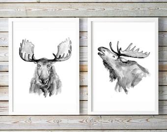 Moose portrait - moose art - set of 2 prints - watercolor moose art - Moose painting - illustration moose portrait - animal painting -