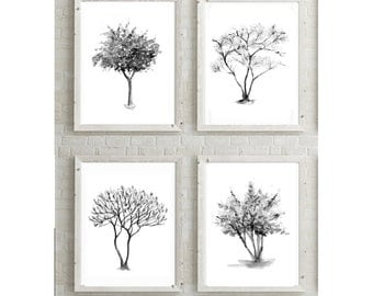 Tree art  - 4 paintings - tree watercolor - Tree Decor - Tree painting - Nature illustration - Nature Art - Zen drawing tree drawing