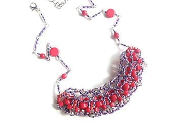 Coral grey silver beaded necklace handmade coral color Czech glass beads grey seed beads necklace jewelry for her gift for Mom red beadwork