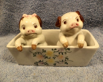 Pigs In The Feeding Though 3 Piece  Salt And Pepper Shaker Set