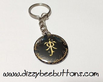 "JRR Tolkien One Ring Lord of the Rings 1.5"" Keychain"