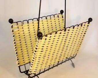 Atomic plastic weave magazine rack – original from the 1950s
