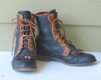 sz 7b vintage blue and  brown leather logo justin lace up granny combat boots