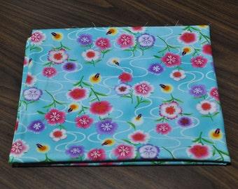 cotton blue firefly fabric 1/2 yard