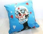 Mexican Dia de Los Muertos Cushion Cover - Blue Sugar Skull Cushion - Day of the Dead Pillow - Gift For Him - Cool Home Decor - Mexican Home