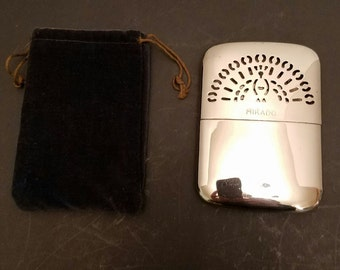 "Vintage mikado stainless pocket hand warmer japan with original velveteen bag 4"" vc13"