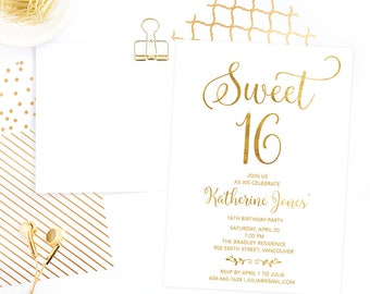 Gold Sweet 16 Invitation Printable, Sweet Sixteen Invitation, 16th Girls Birthday Invitation, Faux Gold Foil Sweet 16 Birthday Invite