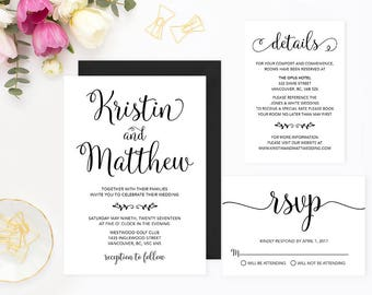 Wedding Invitation Set, Calligraphy Wedding Invitation Set, Rustic Wedding Invitation Set, Printable Wedding Stationery Set