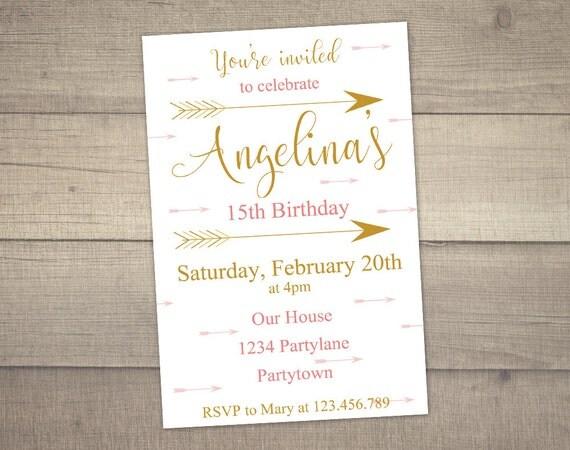 14th birthday invitation arrow invitation teen birthday like this item filmwisefo Image collections