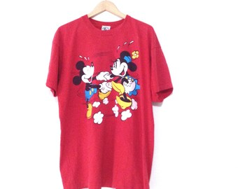 Mickey and minnie mouse t-shirt. Red 100% cotton tee. Oversized t-shirt. Made in USA