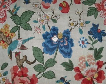 LEE JOFA KRAVET Persian Jacobean Birds & Pomegranite Linen Toile Fabric 10 Yards Green Multi
