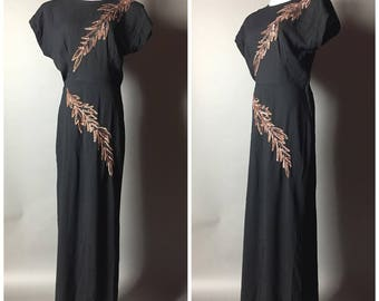 Vintage 40s dress / 1940s dress / lbd / 40s gown / sequin dress / cocktail dress / rayon dress / Pinup dress / formal dress / floor length