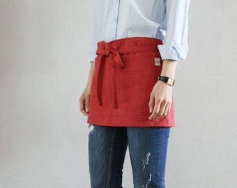 SAMPLE SALE Cafe apron,Raspberry red