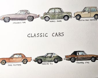 Classic Cars - ink and watercolour print