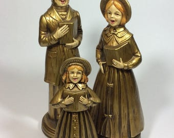 Vintage Gold Paper Mache Christmas Holiday Carolers Set of Three