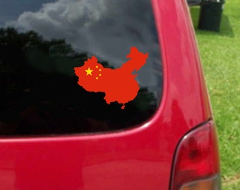 2 Pieces China Outline Map Flag Vinyl Decals Stickers Full Color/Weather Proof. U.S.A Free Shipping