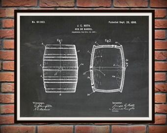 Patent 1898 Beer Keg #2 - Wine Barrel - Beer Barrel - Art Print Poster - Wall Art - Craft Beer Art - Sports Bar Art - Winery Wall Art