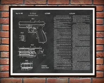 Patent 1985 Glock Pistol Version #2 - Art Print - Poster - Military Weapon - Automatic Hand Gun - Firearm - Semi-automatic Pistol