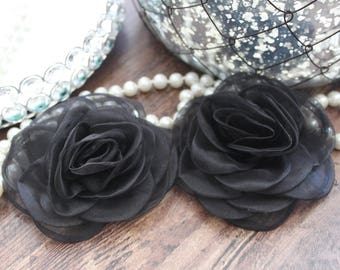"SET OF TWO - 4"" Black Organza Large Fluffy Roses Flowers - Elegant - Beautiful - Hair Accessories - Wedding - TheFabFind"