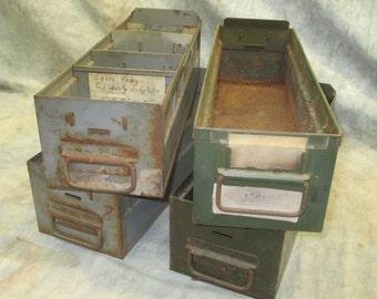 4 Vintage Metal Storage Drawers Organizer Storage Bins Arts Crafts Cubbyholes e
