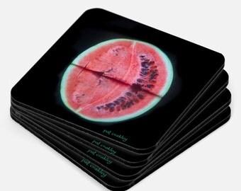 Juicy Red Watermelon Slice Fine Art Coaster Sets | Hostess Gift