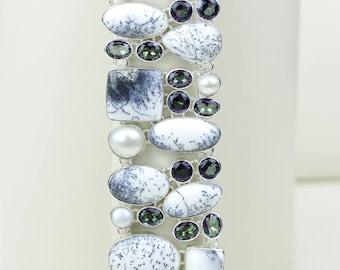 Classy Combo! DENDRITIC Opal Mystic Topaz 925 S0LID Sterling Silver Bracelet B2523