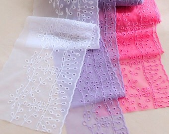 Width 4.33 inches lace trim,flowers embroidered lace,floral lace trim for bridal veil,scalloped trim lace for DIY dress(95-176)