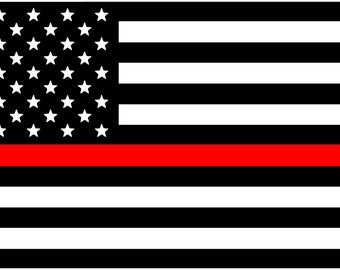 Thin Red Line Decal - American Flag - Fire Department- Red Line- Car Decal- Fire Fighter- Firefighter- Thin Line- Service- Support