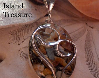 Beach Sand, Mother/Child Heart Necklace with Sand/Shells from Topsail Island (or YOUR beach)