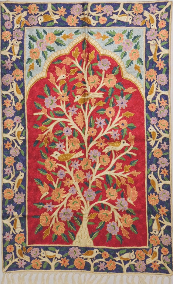 Red Art Silk Embroidered Carpet Rug Tree Of Life Suzani