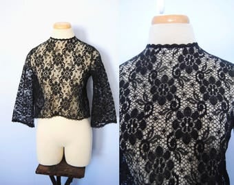 Vintage Black Lace Top, Vintage Bell Sleeve Blouse -- cropped, see through, crew neck, bell sleeves, witchy, boho, bohemian, gypsy, lace top