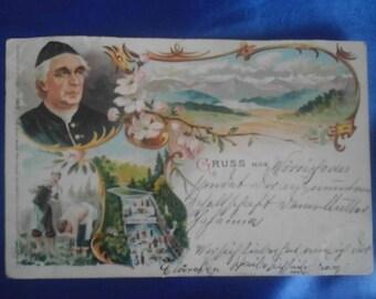 Vintage German 1898 Postcard, Greetings from ?, Used