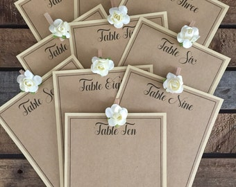 Table seating cards blank with Table numbers  ....DIY