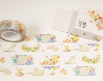 Washi masking tape / cats pastel / 10m x 15mm