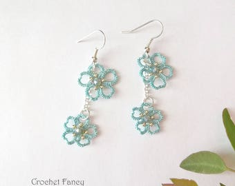 Dangle flower earrings, Tatting lace jewelry, Blue tatted blossom, Mother's day gift