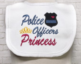 Police Baby Girl Bib Set - Police Baby Shower - Police Officer Baby - Police Baby - Daddy Is My Hero - Cop Baby - Blue Line - Baby Bib - Bib
