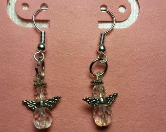 Angel Earrings with april birthstone