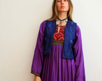 afghani embroidery vest/ bohemian gypsy goddess